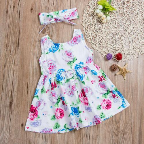 Toddler Kids Baby Girls Floral Princess Summer Dress US