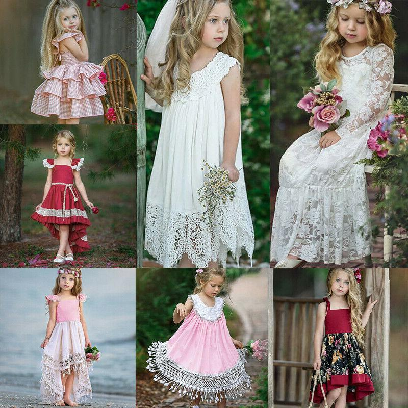 Toddler Kid Girl Flower Wedding Princess Lace Tutu Dress Par