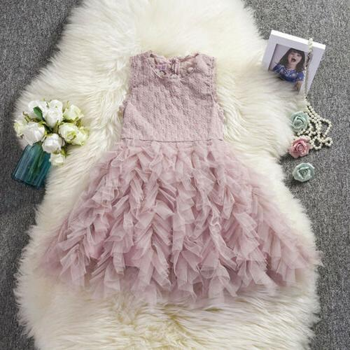 US Fancy Baby Girl Flower Lace Tutu Party Dress Sundress