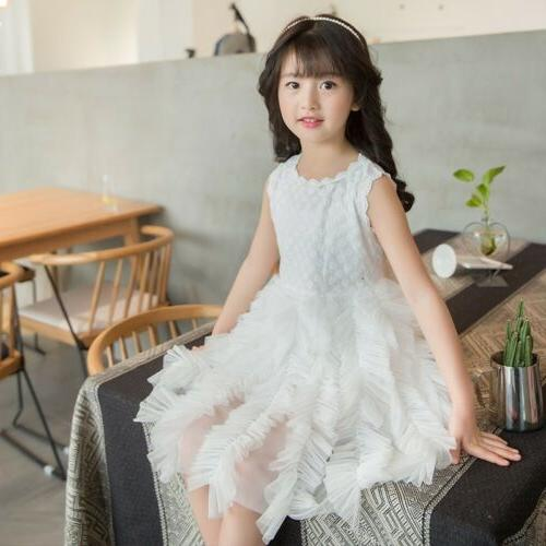 US Fancy Baby Girl Flower Dress Tutu Party Gown Dress