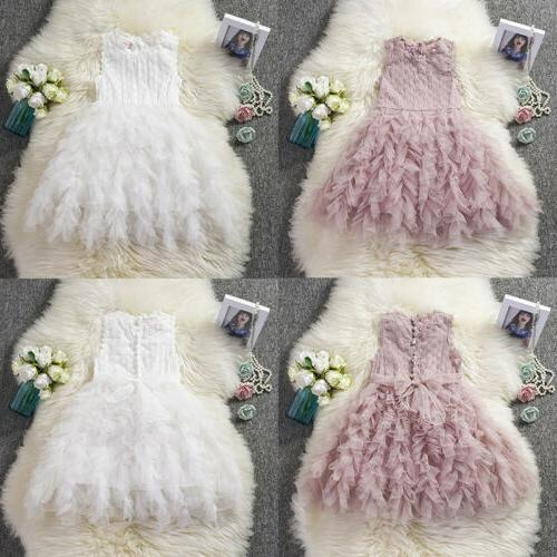US Girl Flower Lace Tutu Party Dress