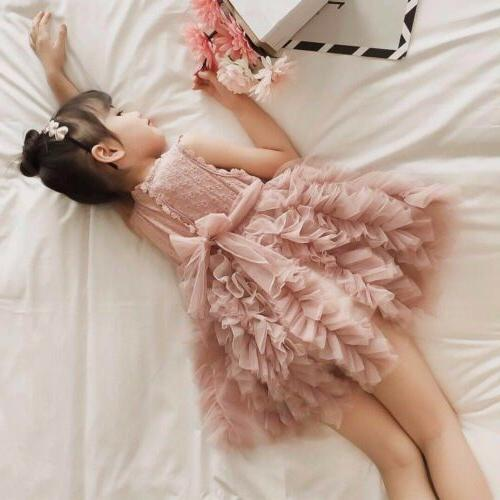 US Girl Flower Lace Tutu Gown Dress Sundress