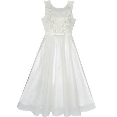 US STOCK Flower Girls Dress Off White Wedding Veil First Com