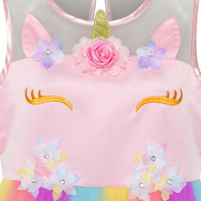 US STOCK! Flower Dress Unicorn Princess