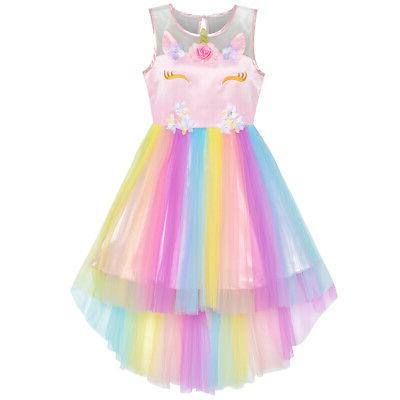 us stock flower girls dress unicorn rainbow