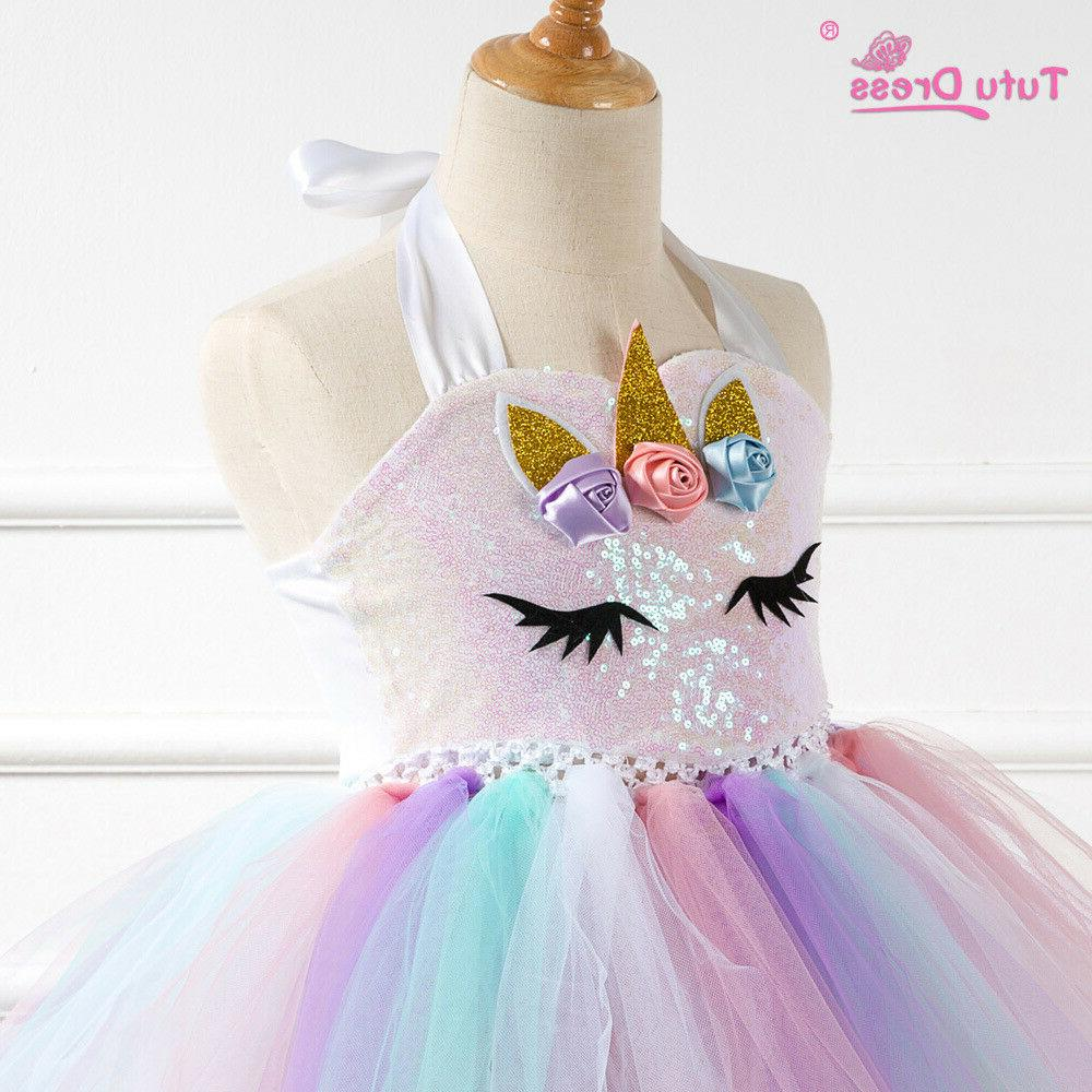 US Flower Girls Unicorn Tutu Girls Birthday ZG9