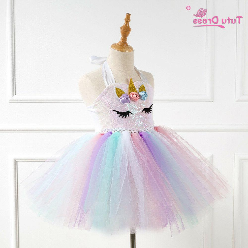US Stock Girls Unicorn Dress Girls Birthday ZG9