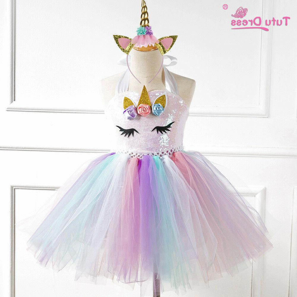 us stock flower girls unicorn tutu dress