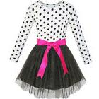 US STOCK Girls Dress Long Sleeve Tutu Skirt Bow Tie Party Si