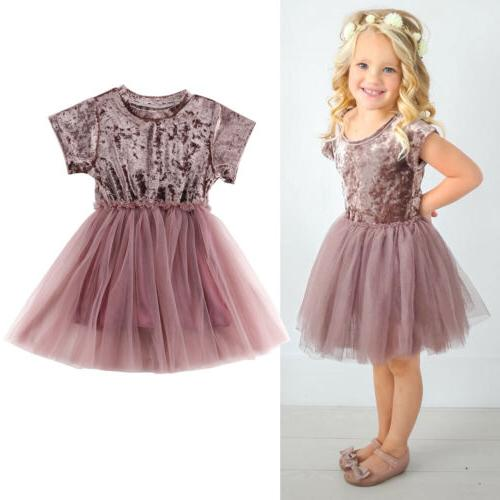 Girls Velvet Tutu Lace Dress Toddler Dresses