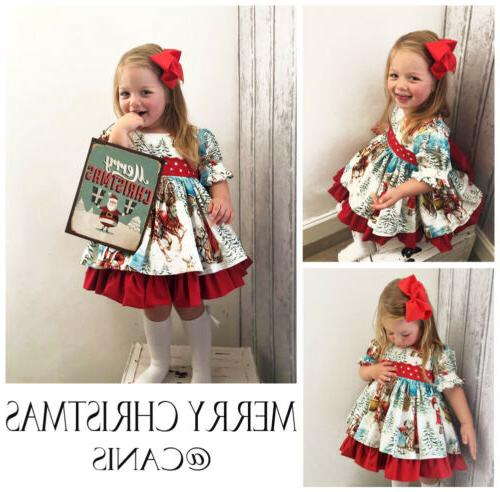 USA Christmas Toddler Baby Festival Flared Dress