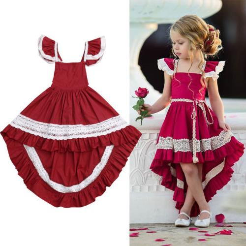 USA Kids Girls Bow Dress Wedding Bridesmaid Formal Dresses