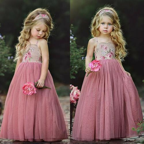 USA Long Princess Girls Dress Flower Solid Baby Lace Party G