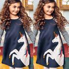 USA Princess Kids Baby Girls Dress Unicorn Striped Dress Par