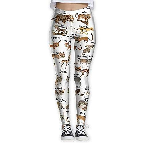 wild cats printing compression leggings pants tights