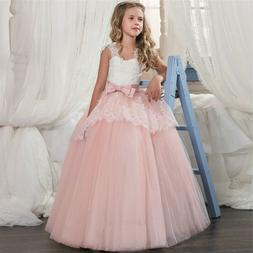 lace flower girl princess wedding bridesmaid long