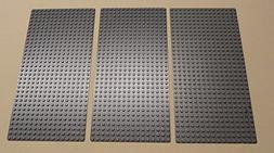 Lego Gray Baseplates Brick Building 16x32 Dots, Set of 3, Bl