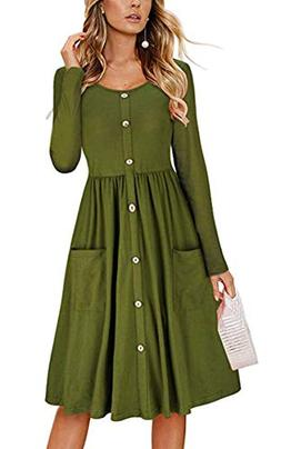 Angashion Women's Long Sleeve Button Swing Skater Midi Dress