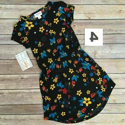 LuLaRoe MAE Girls Dress- Size 4  Black, Red, Blue & Yellow F