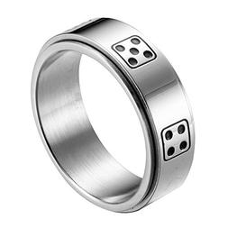 Men's 8MM Stainless Steel Dice Spins Spinner Ring Band, Silv
