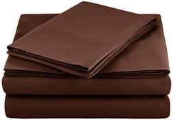 AmazonBasics Microfiber Sheet Set - Twin Extra-Long, Chocola