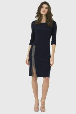 Joseph Ribkoff Midnight Blue Embellished Side Slit Cocktail
