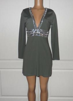 new deep v trim cocktail dress size