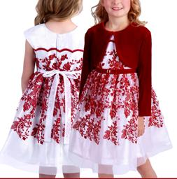 NEW Jona Michelle Girls Formal Party Dress - RED/SILVER - VA