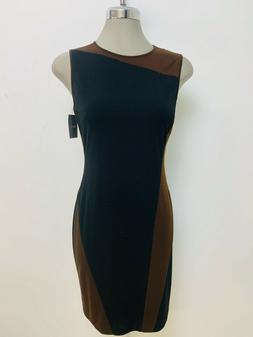 Ellen Tracy NewWT Modern BLACK/BROWN A line color block Dres