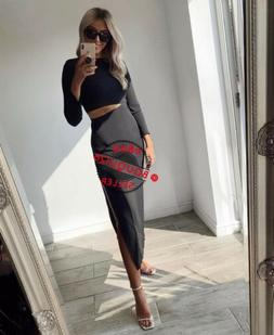 nwt new woman long dress with cut