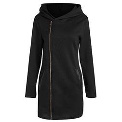 Oblique Zipper Funnel Neck Slim Fit Hooded Long Coat Jacket