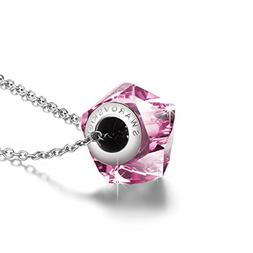QIANSE Pink Crystal Necklace, 925 Sterling Silver Necklace,