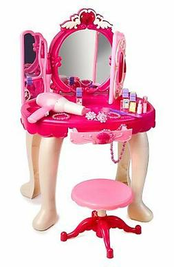 Pink Princess Make Up Vanity Table For Little Girls with Sou