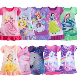 Princess Girls Kids Party Dress Pajamas Nightgown Sleepwear