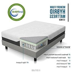 LUCID 12 Inch Queen Hybrid Mattress - Bamboo Charcoal and Al