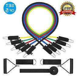 WENFENG 11PC Resistance Bands Set,10lbs to 50lbs Workout Ban