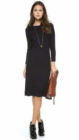 Tory Burch Robin Sweater Dress Navy Black Wool Knit Leather