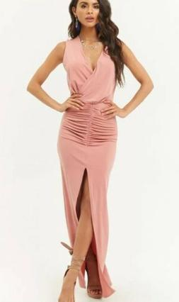 Ruched Waist Surplice High Slit Maxi Long Full Length Dress