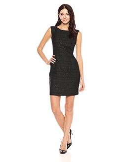 Anne Klein Women's Sequin Tweed Sheath Dress, Black, 12