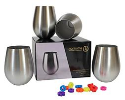Stainless Steel Stemless Wine Glasses, 18oz Tumblers, Set of
