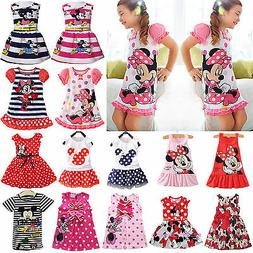 Summer Girls Kids Baby Princess Dress Mickey Minnie Mouse Ca