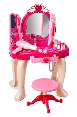 Super Cute Pink Princess Make Up Vanity Table For Little Gir
