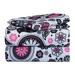 Dor Extreme Super Soft Luxury Twin Pink and Black Floral Bed