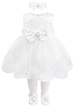 T.F. Taffy Taffy Baby Girl Christening Baptism Embroidered W