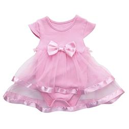 Todaies,Hot Sale Baby Girls Infant Birthday Tutu Bow Clothes