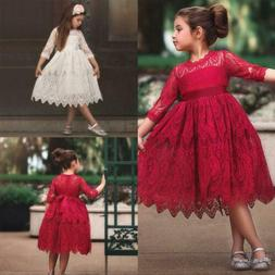 Toddler Kids Baby Girl Lace Flower Girl Tulle Half Sleeve Pr