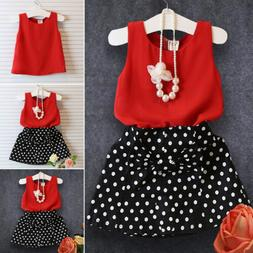 Toddler Kids Baby Girls Outfits Clothes Vest Tank Tops Skirt