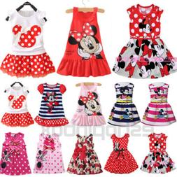 Toddler Kids Girls Cartoon Minnie Mouse Party Dress Sleevele