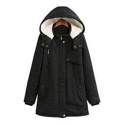 Trendy Hooded Long Sleeve Fleece Pocket Parka Women Coat