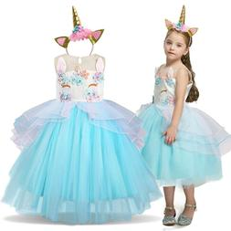 Unicorn Dress Kids Dresses For Girls Birthday Party Princess
